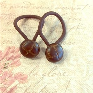 Vintage Button Set of Two HairTies
